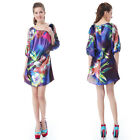 Printed Long Sleeves Short Winter Casual Cocktail Maternity Daily Dresses 03769