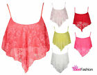 WOMENS FLORAL LACE DIP HANDKERCHIEF LADIES STRAPPY CROP HANKY HEM CAMI VEST TOP