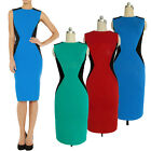 Womens zip bodycon contrast  OFFICE midi celeb pencil smart dress UK 8 10 12 14