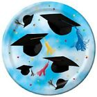 "Cap Toss Graduation Blue Plates 8 ct Party Supplies 7"" Dessert"