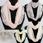 Fashion Women's Flowers Lace Mesh Stitching Soft Solid Color Infinity Scarf New