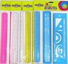 Kids Rulers & Stencil Set Protractor Triangles Shapes Curves Letters Numbers
