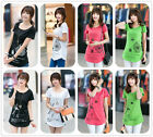 Womens Girls Beach Short Sleeves Casual Cotton Top Soft Batwing T-Shirt Summer