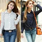 New Womens Retro Vintage Chiffon Polka Dot Lapel Long Sleeve Shirt Blouse Tops