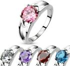 Women's Stainless Steel CZ Solitaire Prong Set Hollow Ring,Pick Color,5-9(2096)