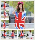 Womens Girl Beach Shorts Sleeve Union Flag Casual Cotton Top Soft T-Shirt Summer