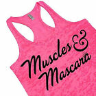 Muscles And Mascara Cute Workout Running Tank Top Girly Hot Pink Neon Gym Shirt