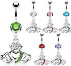 316L Surgical Steel Claddagh Crown Heart Pave Gem Navel/Belly Ring-Colors(11799)