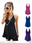 New Women Sexy Solid One Piece V-neck Swimwear Swimsuit Bathing Suit Beach Dress