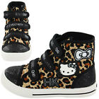 Girls SIZE 8 - 2 HELLO KITTY Black Velcro Canvas Pumps Trainers Boots NEW