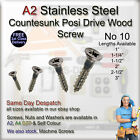 A2 No 10  COUNTERSUNK POSI DRIVE WOOD SCREW Stainless Steel Screw