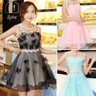New Lady Evening Party Gown Sleeveless Lace Splicing Chiffon Tiered Tunic Dress