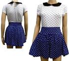 40's / 50's Style Ladies High Waisted Polkadot Split Skirt Shorts / Culottes