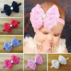 Baby Girls Rose Flower Bow Hairband Soft Elastic Headband Hair Accessories Newly