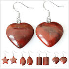 925 Silver Hook Natural Red Jasper Earrings EH811