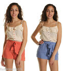 Womens Ladies New Summer Belted Playsuit Jumpsuit Shorts Dress Top S M L