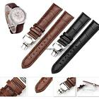 HQ Genuine Butterfly Deployant Clasp Buckle+ Leather Watch Band Strap 14mm-24mm