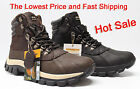 Kingshow Men's Winter Snow Boots Shoes Brown / Black Genuine Leather Waterproof