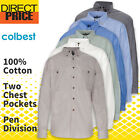 Mens Chambray Shirts Cotton Casual Business Down Blue Charcoal Work Uniform