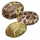 mr+3color Gold Purple Brown Gold Green Damask Shimmer Velvet Round Cushion Cover
