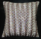 ms03a Mauve Brown Shimmer Silver Star Sequins Checker Decorative Cushion Cover