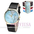 38mm Women's Gold-tone Case America USA Map Dial Quartz Analog Wrist Watch