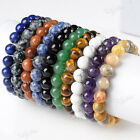 Agate Turquoise Amethyst Nature Gem Gemstone Beads Stretchy Bangle Bracelet