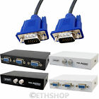 2 Port SVGA Manual Splitter Switch Box With VGA Cable For TFT Monitor LCD Plasma