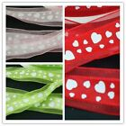 "Hot Selling 5 yards 1"" 25mm Heart Craft  Sheer Ribbon U pick"
