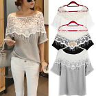 Fashion Sexy Womens Hollow Lace Crochet Batwing Short Sleeve T Shirt Blouse Top