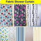 Patterned Fabric Bathroom Shower Curtain 180 x 180 cm With Hooks