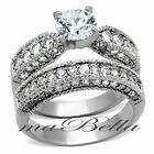 3.15cttw Round Cut Top CZ Stainless Steel Wedding Ring Set Women's Size 5-10