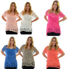 New Womens Top Crochet Lace Ladies 2 in 1 Vest Camisole Summer One Size Nouvelle