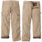 Wolverine Work Pants Mens Carpenter Traditional Fit Fannel Lined Insulated Khaki
