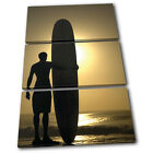 Surfer Sports TREBLE CANVAS WALL ART Picture Print VA