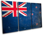 Abstract New Zealand Maps Flags TREBLE CANVAS WALL ART Picture Print VA