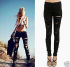 Black Destroyed Denim Pants Ripped High Waisted Stretch Skinny Pencil Jeans NWT