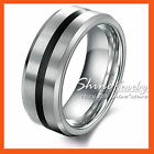 TUNGSTEN Carbide SILVER BLACK ENGAGEMENT ETERNITY WEDDING MENS SOLID BAND RINGS
