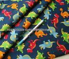Good Quality 1/2 yard by the yard Blue Dinosaur 100% Cotton Plain Fabric 43""