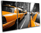 New York NYC Taxi Cab City TREBLE CANVAS WALL ART Picture Print VA