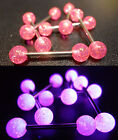 Surgical Steel Tongue Bar with UV Acrylic Balls - Dark 'Cerise' Pink Glitter