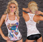 Sexy Redial Women's Stretch Lace Tank Top Tattoo Shirts Vest Strass One Size