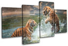 Tigers Playing Animals MULTI CANVAS WALL ART Picture Print VA