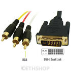1M 1.5M 2M 3M DVI-I To 3 RCA Phono RGB Cable For PC Laptop To HDTV Projector LCD