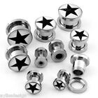 Stainless Steel Star Screw Ear Tunnel Plug Earlets Expander Stretcher Gauge Punk