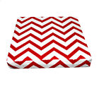 le02t Red Off White Zig Zag Thick Cotton Canvas 3D Box Sofa Seat Cushion Cover