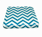 le03t Turquoise Off White Zig Zag Cotton Canvas 3D Box Sofa Seat Cushion Cover