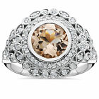 2.35 Ct Morganite & Diamond Vintage Antique Victorian Halo Ring 14K White Gold