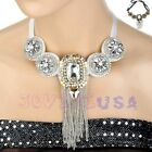 Fashion Women's Big Crystals & Chain Tassels Drop Choker Necklace Fake Collar