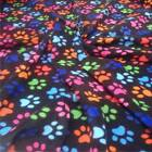 BLACK FLEECE with multi coloured PAWS soft fabric material antipill 150cm wide